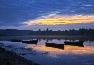 Barques coucher de soleil Russie