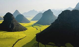Montagnes et champs chine